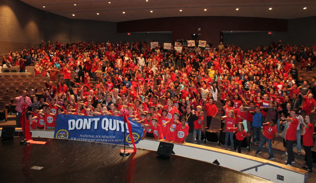 "Photo by Linda Kor Students yelled a heartfelt ""Don't quit!"" as they gathered for the celebration."